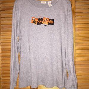 Gray Halloween long sleeve T-shirt